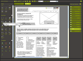 Screenshot of Pidoco Usability Suite showing how wireframe prototypes are edited using drag and drop handling