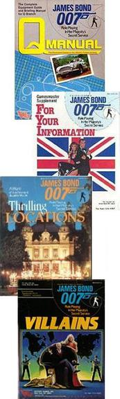 Covers of 4 supplements for the James Bond 007 role-playing game