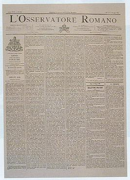 L'Osservatore Romano: front page of 15 May 1891, publishing the encyclical Rerum Novarum of Pope Leo XIII. Losservatore-Romano-15-May-1891.jpg