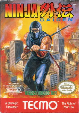 "The logo of Ninja Gaiden is on the top of the screen. In the middle of the image is a depiction of a ninja in blue with a knife in his left hand and a bo and katana stored on his back. The ninja is portrayed in a background of a burning city. Below the ninja is green text saying in caps ""BIGGEST ARCADE HIT!"", and to the left and right of that text are Nintendo's license notice and Seal of Quality respectively. In the bottom of the image, in red with white lettering, is the Tecmo logo, with text to the left of the logo saying ""A Strategic Encounter"" and with text to the right of the logo saying ""The Fight of Your Life""."