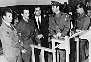 Alexandros Panagoulis on trial in front of the junta justice system.