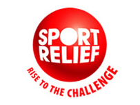 "A red button with the words ""Sport Relief"" written on it. Below that the phrase ""Rise To The Challenge"" is written."