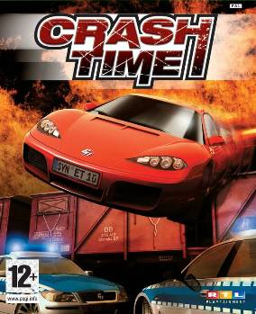 "Box art image showing a sports car passing over the top of two police vehicles with a train carriage and flames in the background. The title ""Crash Time"" is placed at the top centre of the image."