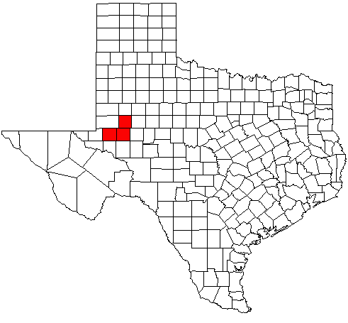 Map highlighting the Midland–Odessa Combined Statistical Area