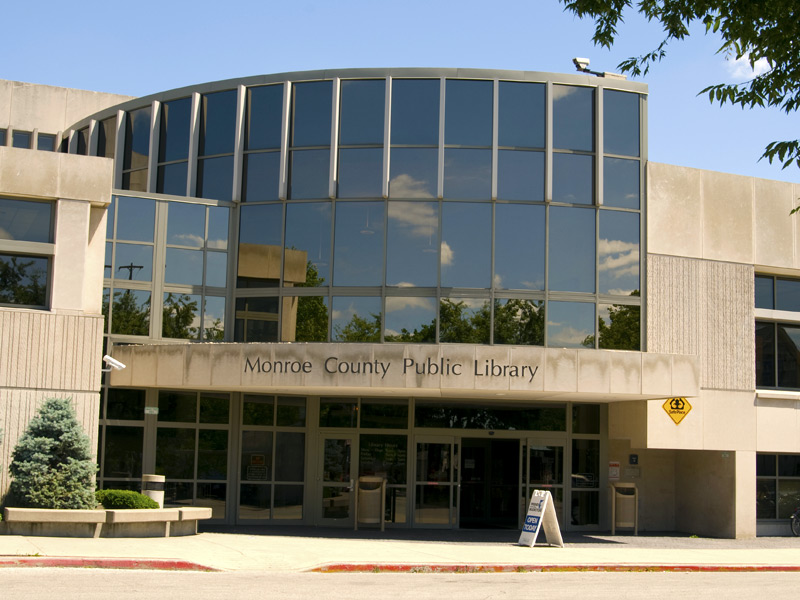 This picture shows the front-side view of the Monroe county public library