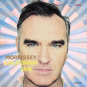 A close-up picture of Morrissey's face in front of a pink and blue background. The artist name and album title are written over the left side of his face in all caps.