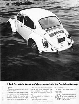 National Lampoon's fake Volkswagen Beetle print advertisement mocking Ted Kennedy's Chappaquiddick incident. TeddyVWad.jpg