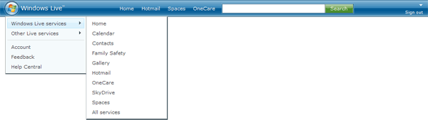 Windows Live 2.0 header