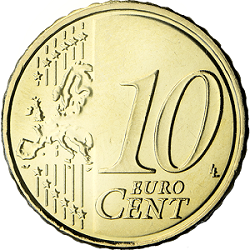 10 euro cent coin coin with value of one tenth of a euro