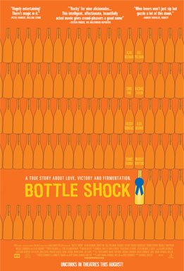 a line drawing of many rows of bottles. one bottle has a blue prize ribbon on it