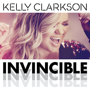 "A cropped image of Clarkson singing, with the word marks ""Kelly Clarkson"" and ""Invincible"" printed above and below it, respectively."