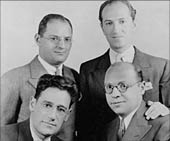 Bottom, left to right: George S. Kaufman, Morrie Ryskind, (top) Ira Gershwin, George Gershwin.