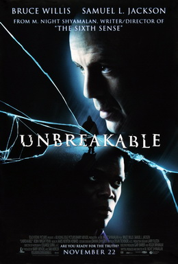 Movie poster showing the head of a man on the top right lookingo the left. At the center of the image is a man wearing a raincoat, as the film's title overlaps him. At the bottom of the image is the head of another man looking to the right. Cracks are shown across the image. Text at the top and bottom of the image lists the starring roles, the credits, and tagline.