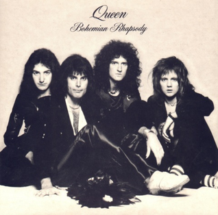 "Promotional single cover for ""Bohemian Rhapsody"" with the four members of Queen posing-(from left) John Deacon, Freddie Mercury, Brian May and Roger Taylor."