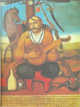 The mythical Cossack Mamay playing a kobza-bandura.
