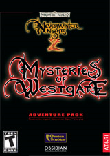 "The game box cover, predominantly black with stylized red text reading ""Mysteries of Westgate"""