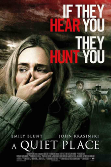 The film poster shows a close-up of Emily Blunt in-character with her hand over her mouth.