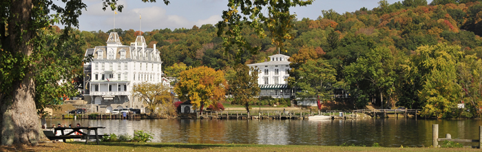 A view of Goodspeed Opera House taken across the river