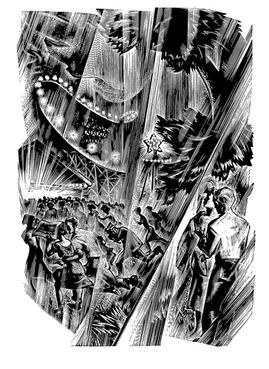 A black-and-white drawing of a rainstorm at an amusement park.  People run for cover, with a brightly-lit roller coaster in the background.
