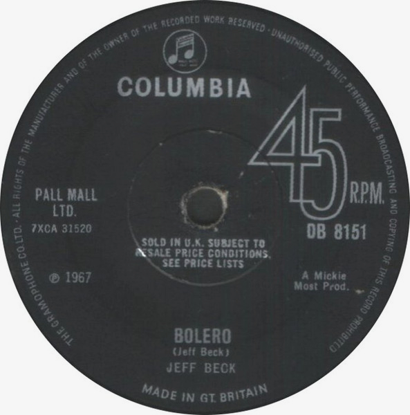 Becks Bolero single by Jeff Beck