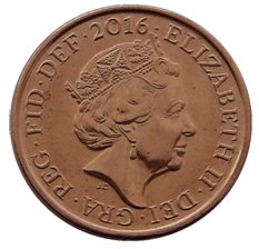 British decimal one penny coin