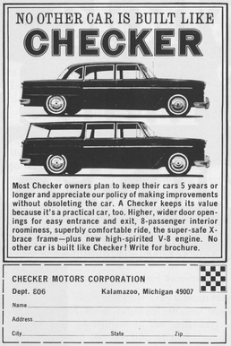 An advertisement depicting the sedan and station wagon variants of the Checker Marathon that appeared in the August 1967 issue of National Geographic.