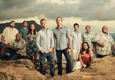 Full cast of Hawaii Five-0 season 8 from left to right: Jorge Garcia as Special Consultant Jerry Ortega, Chi McBride as Captain Lou Grover, Beulah Koale as Officer Junior Reigns, Meghan Rath as Officer Tani Rey, Scott Caan as Detective Danny Williams, Alex O'Loughlin as Lieutenant Commander Steve McGarrett, Ian Anthony Dale as Adam Nishomuri, Kimee Balmilero as Medical Examiner Dr. Noelani Cunha, Dennis Chun as Sergeant Duke Lukela, and Taylor Wily as Kamekona Tupola