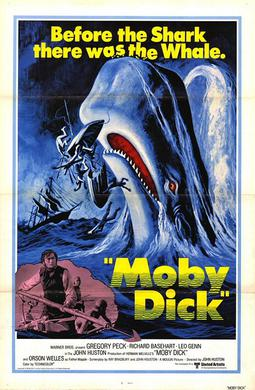 Film poster for 1956 film adaptation of Moby-Dick.