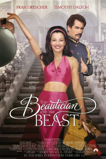 Theatrical release poster, which shows Fran Drescher wearing a bright pink outfit and standing in front of Timothy Dalton who is wearing a military outfit.