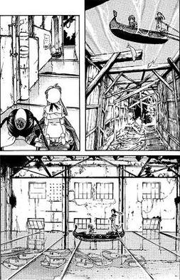 Akari and Aika lost inside a flooded warehouse complex (from Aqua volume 1)