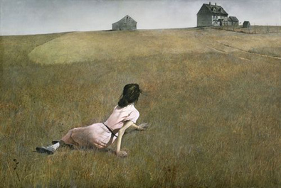 Christina's World by Andrew Wyeth, purveyor of farm porn (betchya wish you could see more than this alt text now, eh?)