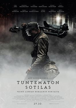 A theatrical release poster of the film featuring a Finnish soldier carrying a machine gun tripod through a foggy forest.