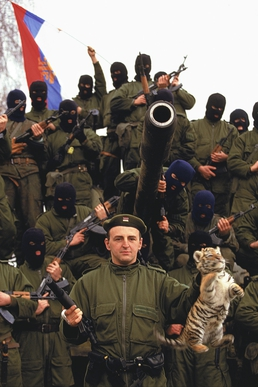 Arkan, in front of his Serb paramilitary group, the Serb Volunteer Guard (Arkans Tigers)