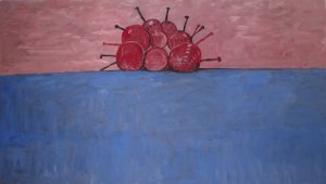 Blue ground with red cherries (painting)