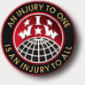 IWW globe logo encircled by an IWW slogan.