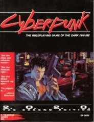 The cover of Cyberpunk 2020. Mike Pondsmith's most famous title.