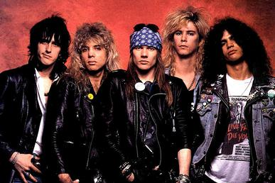 Promo photo of Guns N' Roses classic lineup, from left to right, Izzy Stradlin, Steven Adler, Axl Rose, Duff McKagan, & Slash. Guns-N-Roses-1987.jpg