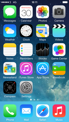 The iPhone Home screen of iOS 7 shows most of the applications provided by Apple. Users can download additional applications from the App store, create Web Clips, rearrange the icons, and create and delete folders. - iPhone