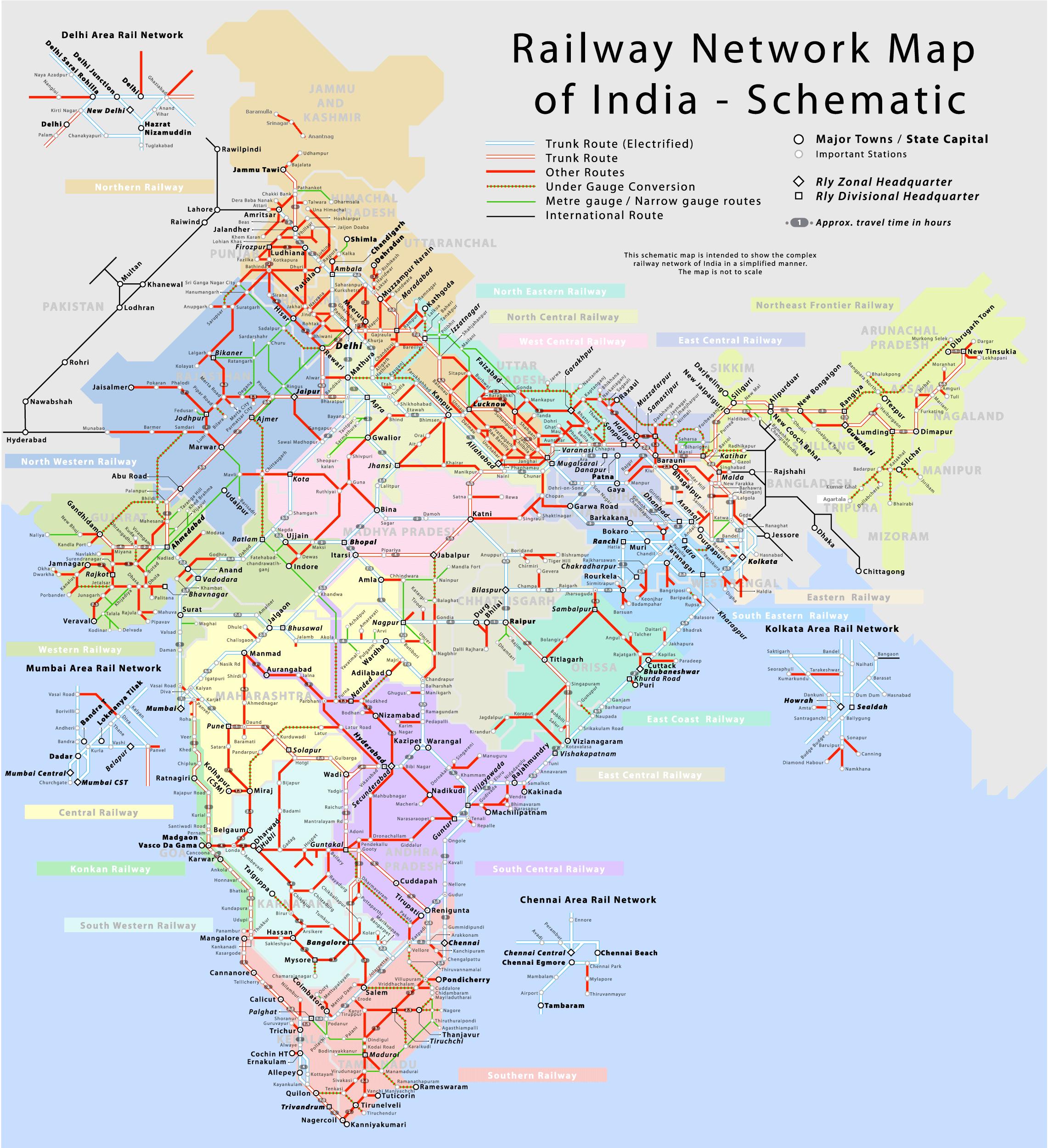 India i Maps - bykart, States Kart, turiststeder, bakken stasjoner