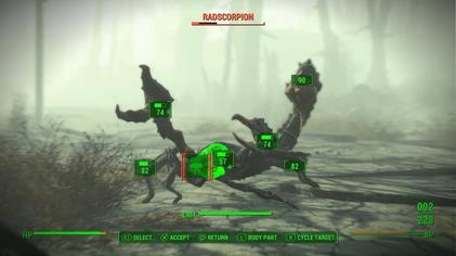 When using V.A.T.S., real-time action is slowed down, and players can see the probability of hitting each body part of the enemies through a percentage ratio displayed here on the PlayStation 4 version Fallout 4 V.A.T.S. Screen.jpg