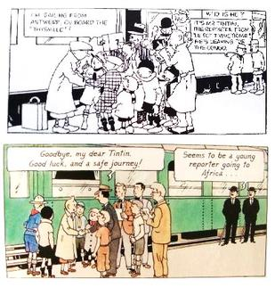 Two comic book frames; the same basic scene of a young man being seen off at a railway station is depicted, but one image is in black and white while the other is in colour.