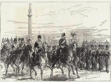 The Prince of Wales reviewing the Norfolk Militia, 1872. By the mid-19th century, the militia had become a volunteer force. Prince of Wales reviewing the Norfolk Artillery Militia.jpg