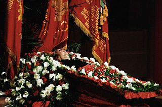 Leonid Brezhnev lying in state at the House of the Unions, November 1982 - State funeral