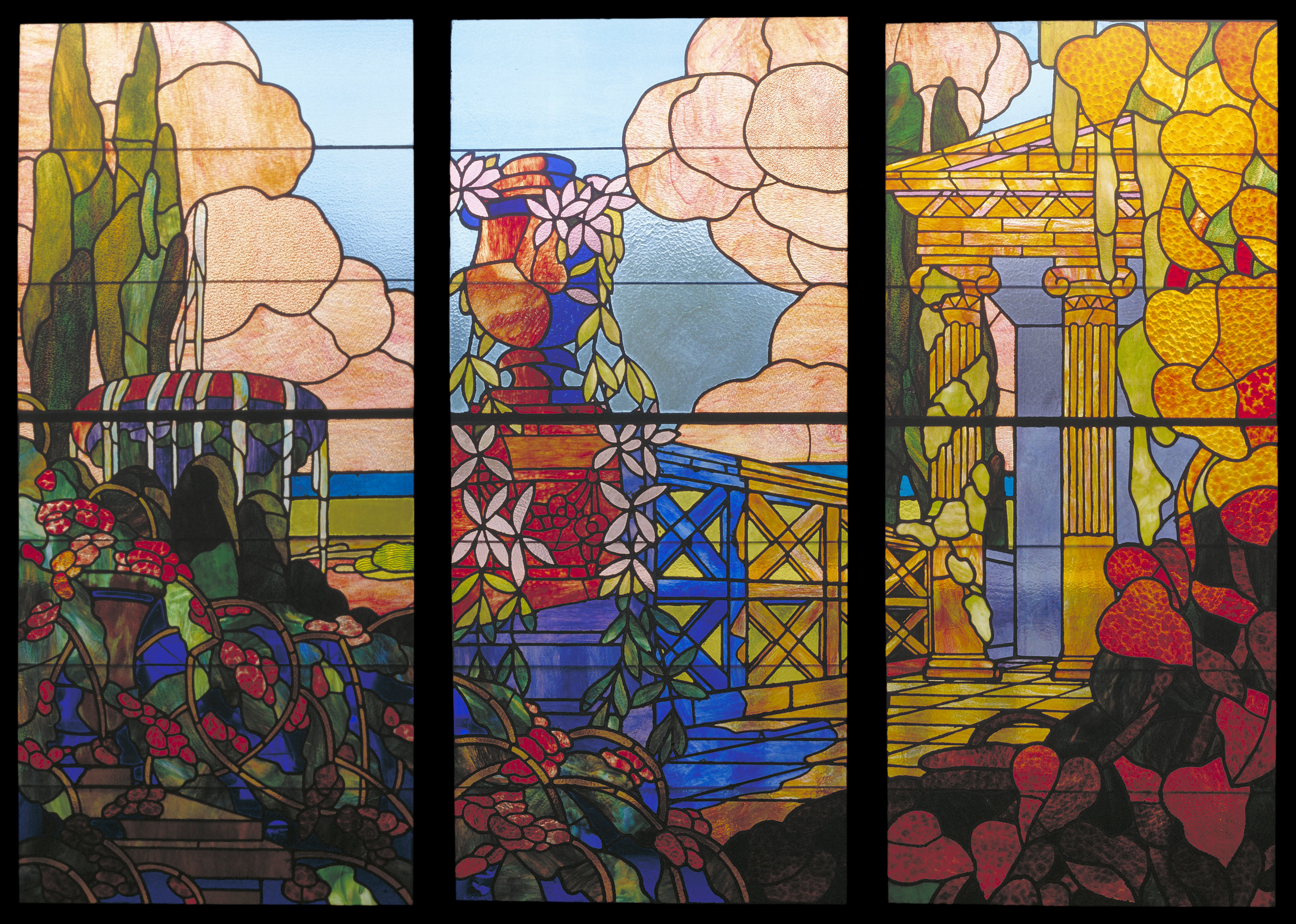 File francesc labarta stained glass triptych google for How to do glass painting at home