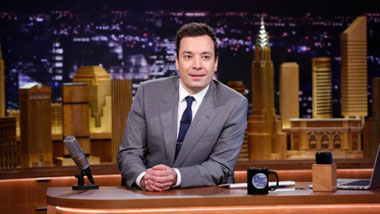 Fallon at his desk on the show's premiere episode Jimmy Fallon at desk.jpg