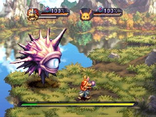 A boss battle featuring the protagonist and a pet. The party's health and special move meter is shown in the gauges at the top, and the enemy's health is shown in the bar at the bottom. Legend of Mana battle.jpg