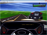 A screemshot from the Window version of Mavis Beacon Teaches Typing showing a typing game that features car racing.