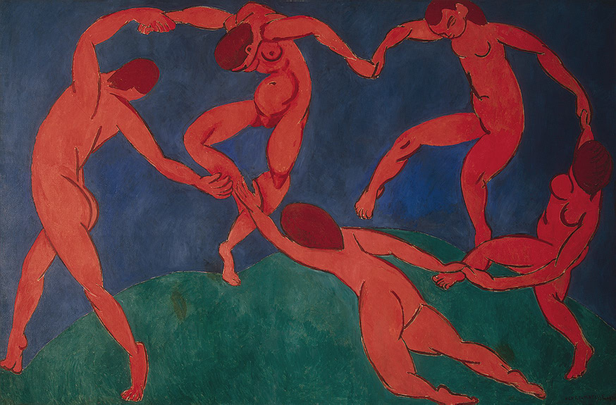 Due to its primitive nature, The Dance by Henri Matisse (1910) is commonly associated with  Stravinsky's Dances of the Young Girls.
