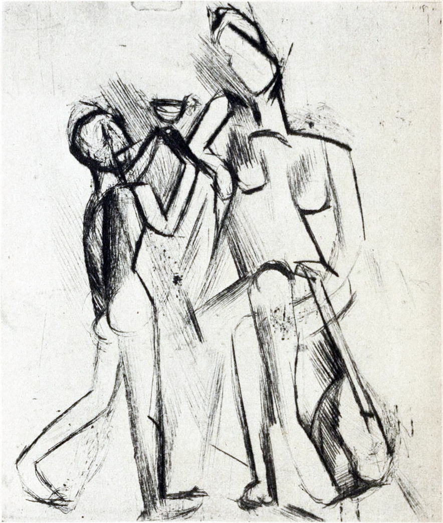 File:Pablo Picasso, 1909, Two Nude Figures (Deux figures nues), steel-faced  drypoint on Arches laid paper, 13 x 11 cm.jpg. From Wikipedia ...