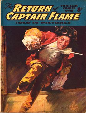 "Thriller Comics #28: ""The Return of Captain Flame"", art by Septimus E. Scott, 1952 Thriller-Comics-28.jpg"